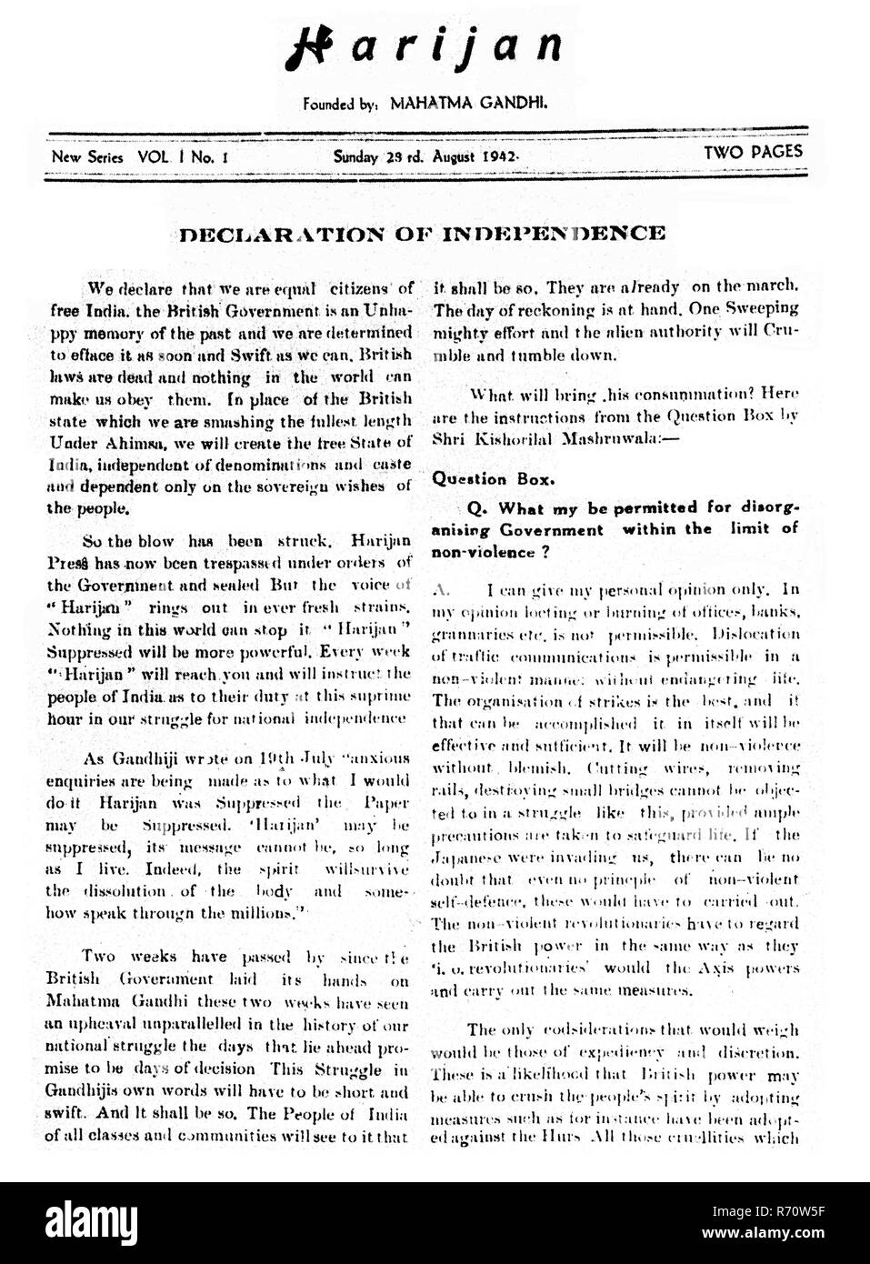 Front page of Harijan (Declaration of Independence), August 23, 1942 - Stock Image