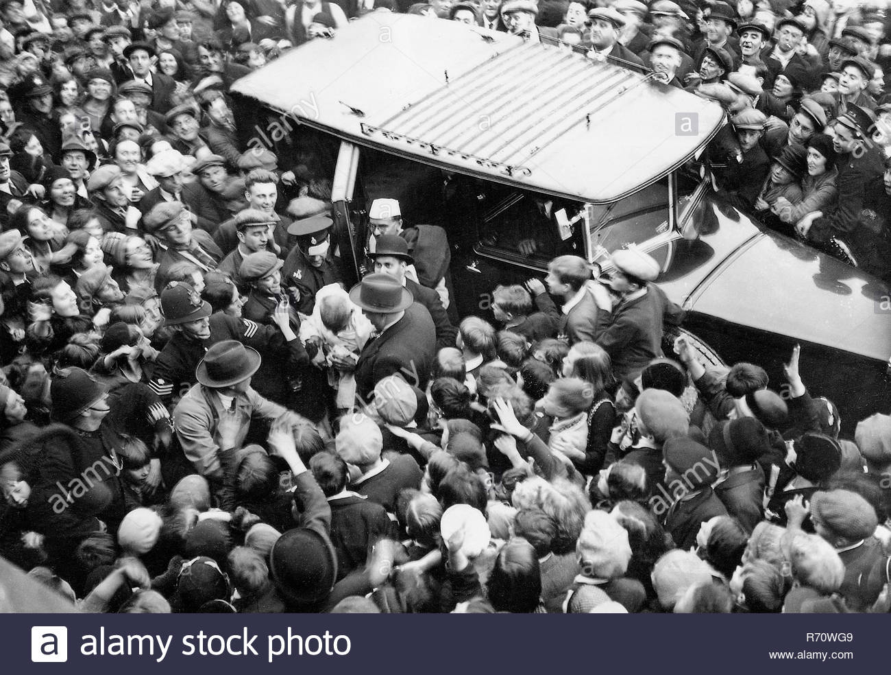 Mahatma Gandhi on his way to meet Charlie Chaplin, September 22, 1931 - MODEL RELEASE NOT AVAILABLE - Stock Image