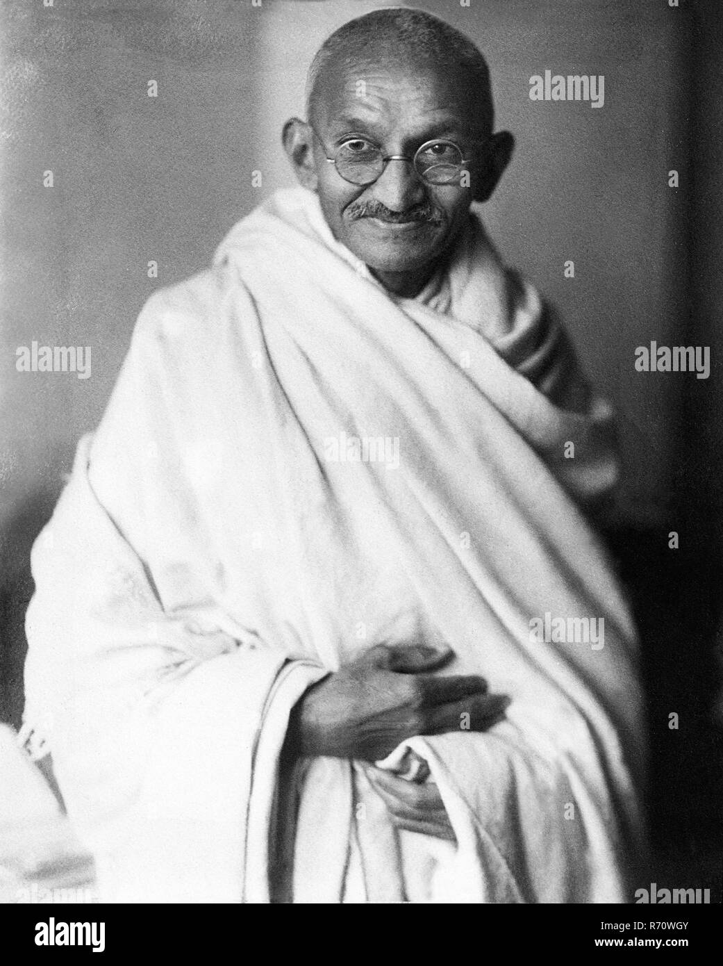A rare studio photograph of Mahatma Gandhi taken in London, England, at the request of Lord Irwin, 1931 - MODEL RELEASE NOT AVAILABLE - Stock Image