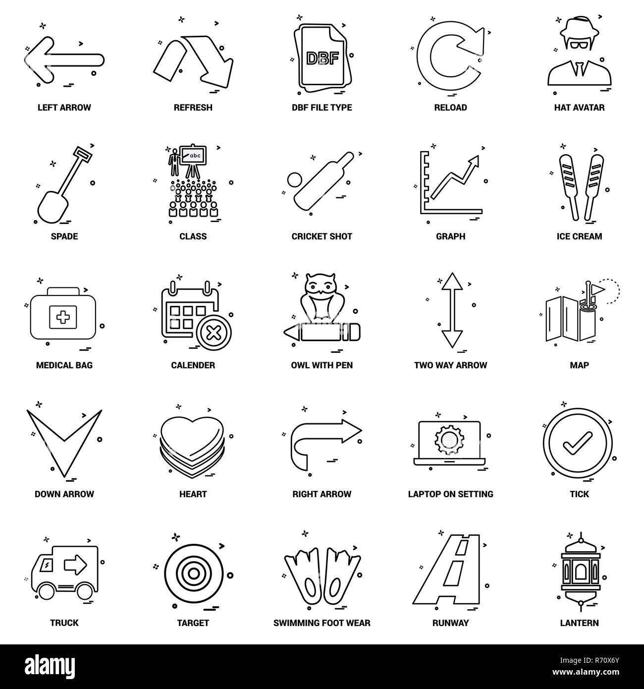 25 Business Concept Mix Line Icon set - Stock Vector
