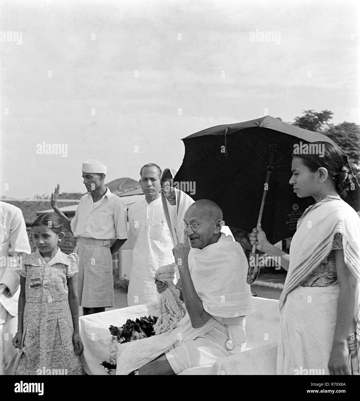Mahatma Gandhi on his 75th birthday at Pune, Maharashtra, India, October 2, 1944 - MODEL RELEASE NOT AVAILABLE - Stock Image