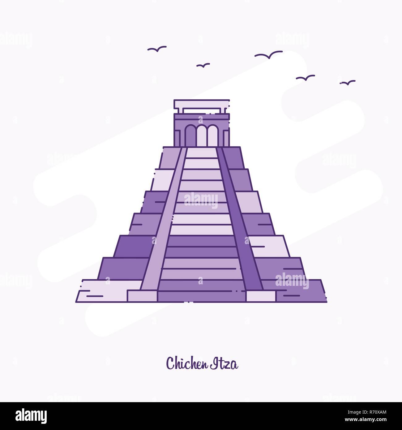 CHICHEN ITZA Landmark Purple Dotted Line skyline vector illustration - Stock Image