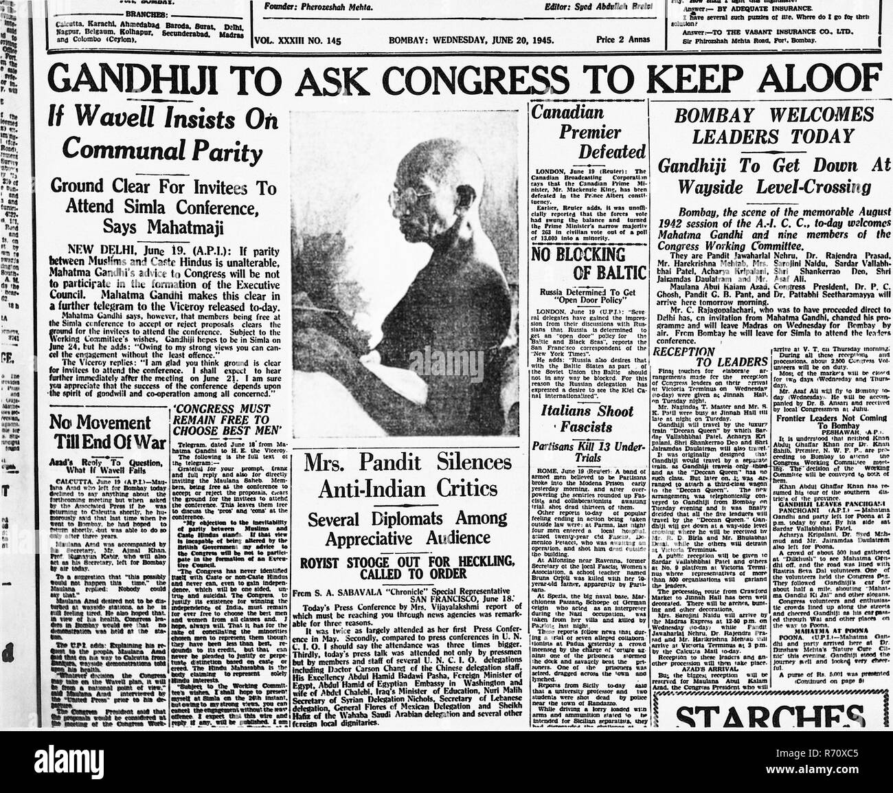 Front page of a Mumbai newspaper, June 20, 1945 - MODEL RELEASE NOT  AVAILABLE