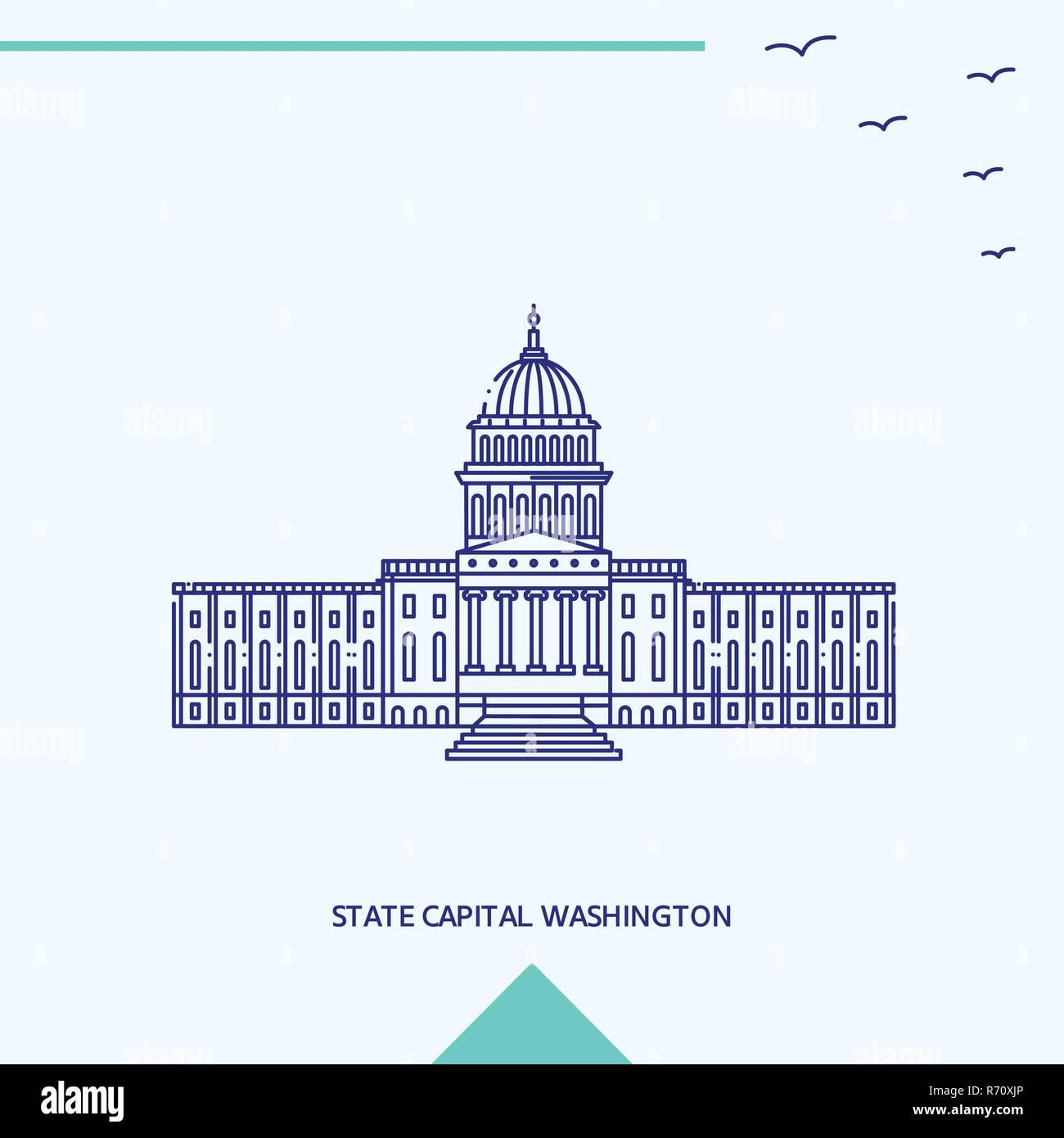STATE CAPITAL WASHINGTON skyline vector illustration - Stock Vector