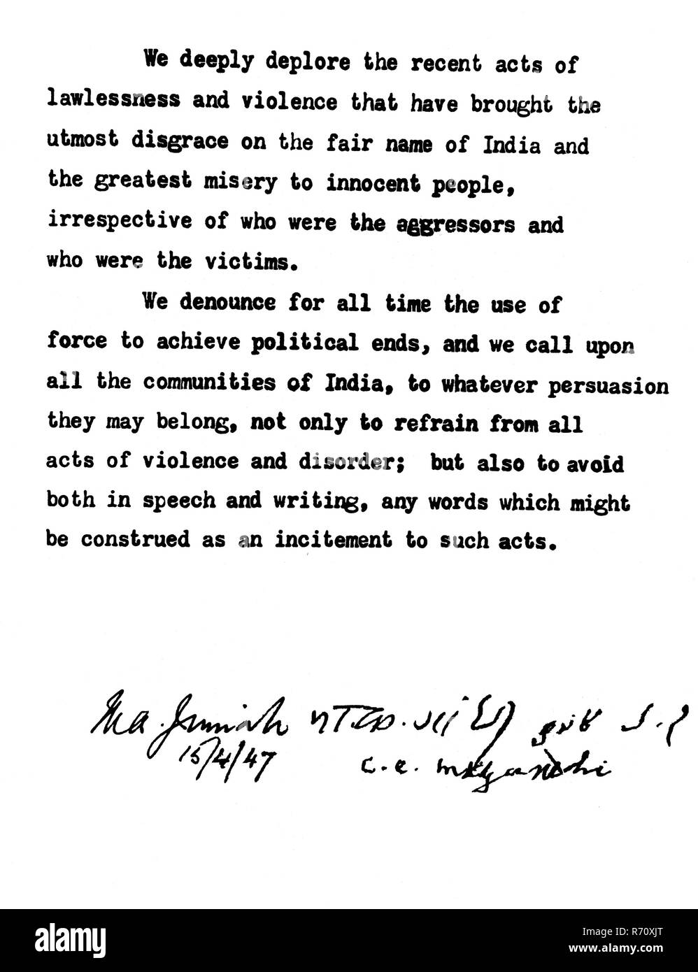 The joint peace appeal signed by Jinnah in English and by Gandhi in Devnagari, Urdu and English, New Delhi, April 15, 1947 MODEL RELEASE NOT AVAILABLE - Stock Image