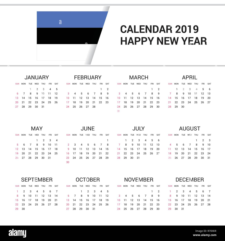 Calendar 2019 Estonia Flag background. English language Stock Vector
