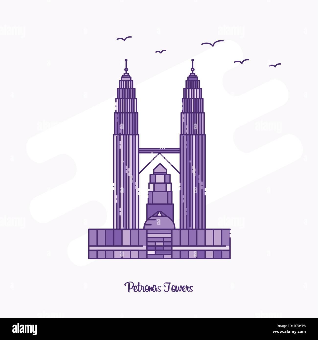 PETRONAS TOWERS Landmark Purple Dotted Line skyline vector illustration - Stock Vector