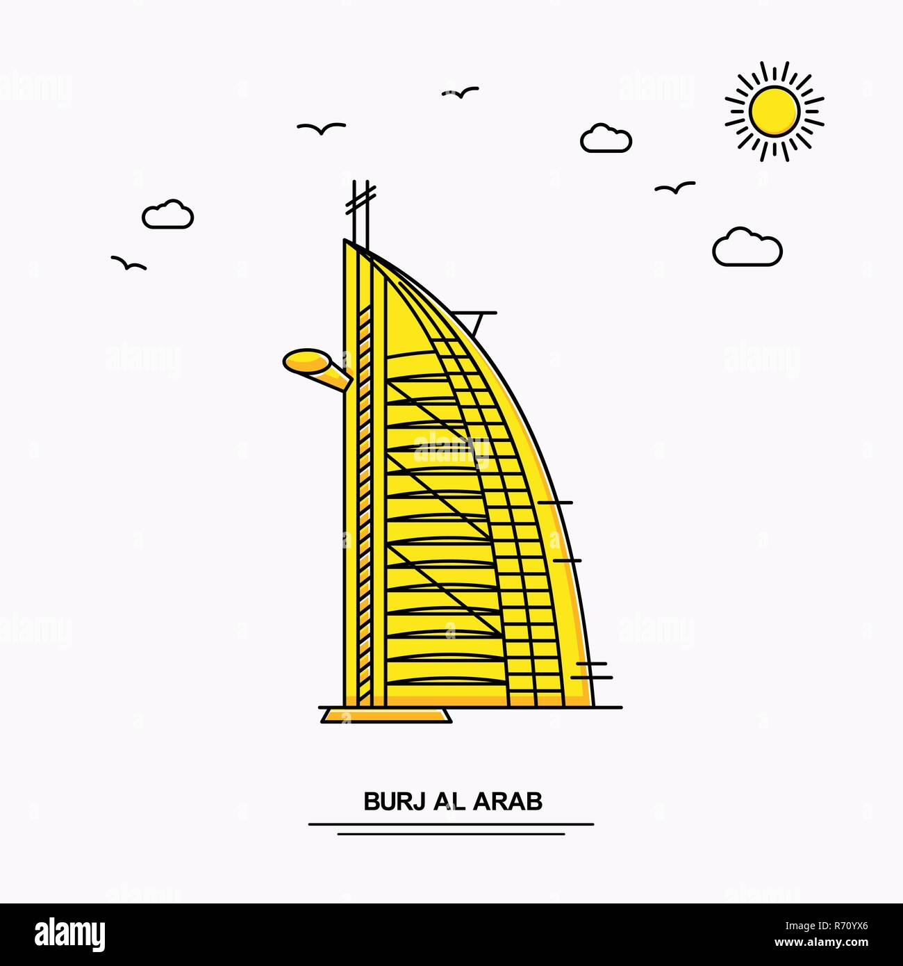 BURJ AL ARAB Monument Poster Template. World Travel Yellow illustration Background in Line Style with beauture nature Scene Stock Vector