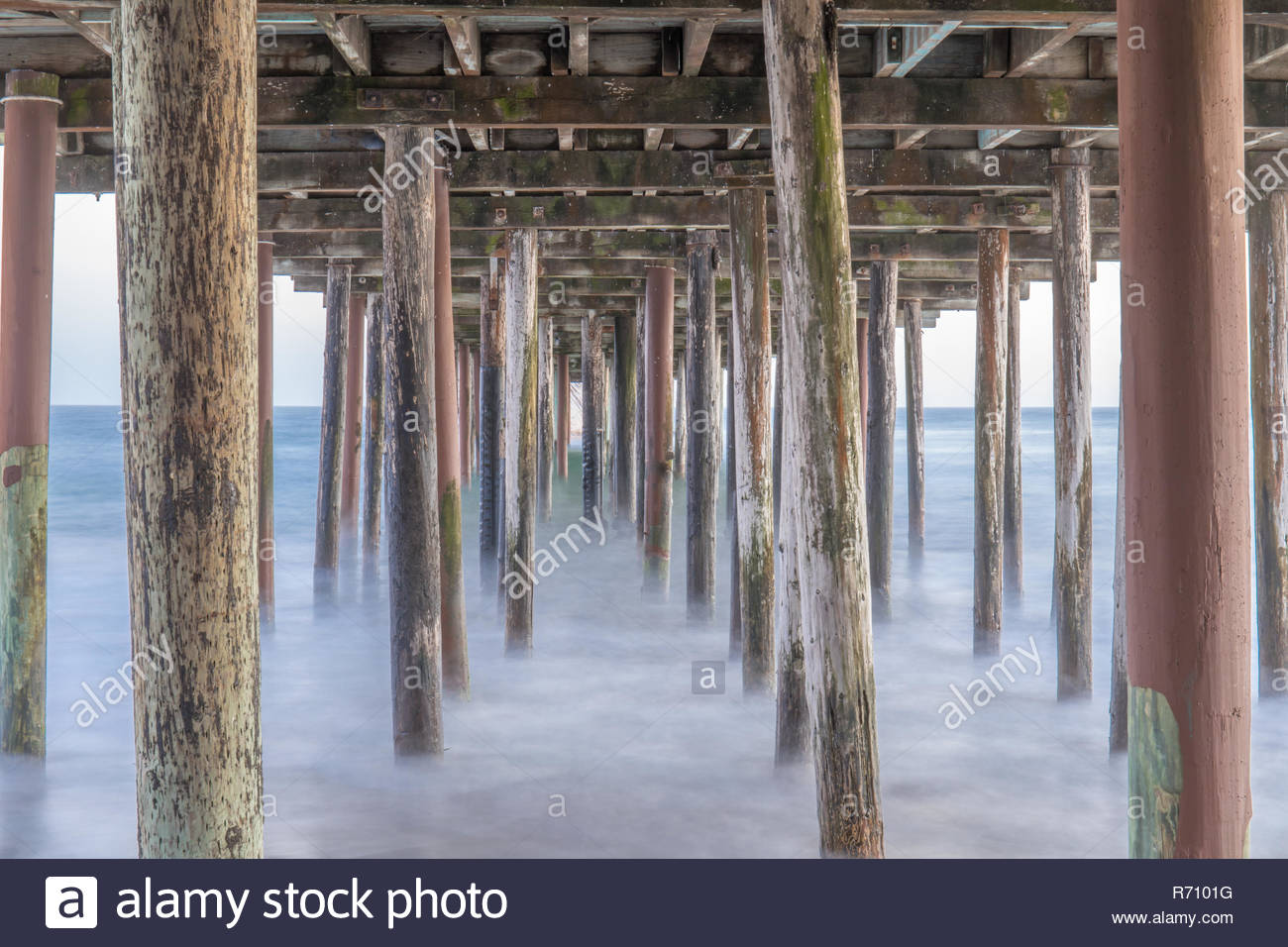 Under the Seacliff State Beach Fishing Pier. - Stock Image