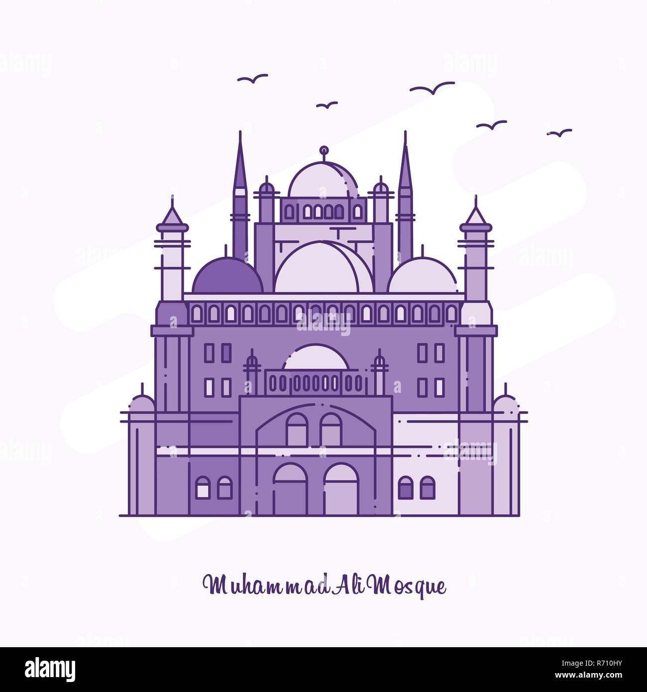 MUHAMMAD ALI MOSQUE Landmark Purple Dotted Line skyline vector illustration - Stock Image