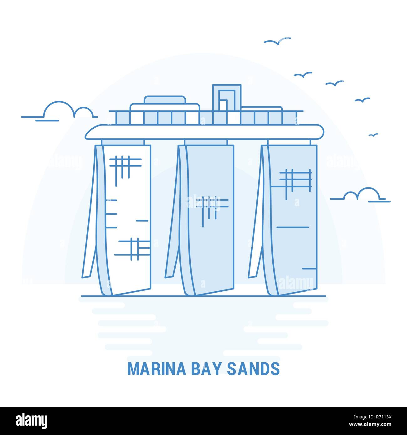 MARINA BAY SANDS Blue Landmark. Creative background and Poster Template - Stock Image