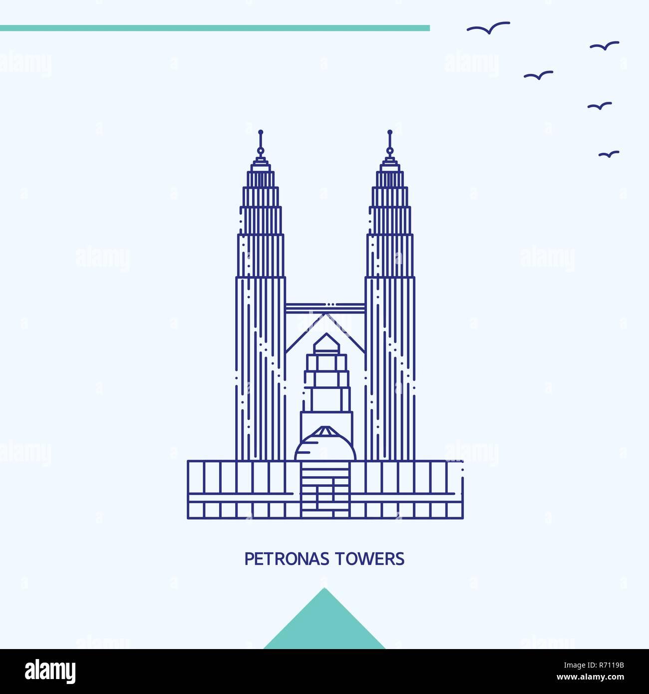 PETRONAS TOWERS skyline vector illustration - Stock Vector