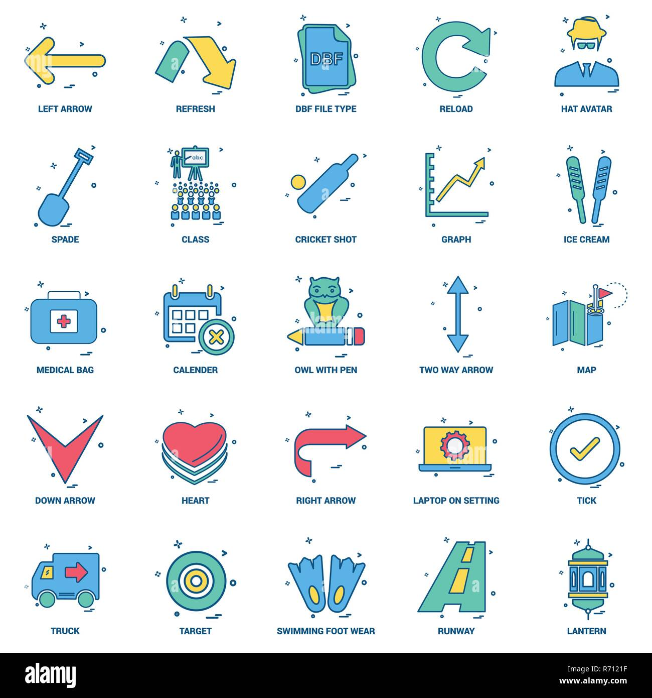 25 Business Concept Mix Flat Color Icon set - Stock Vector