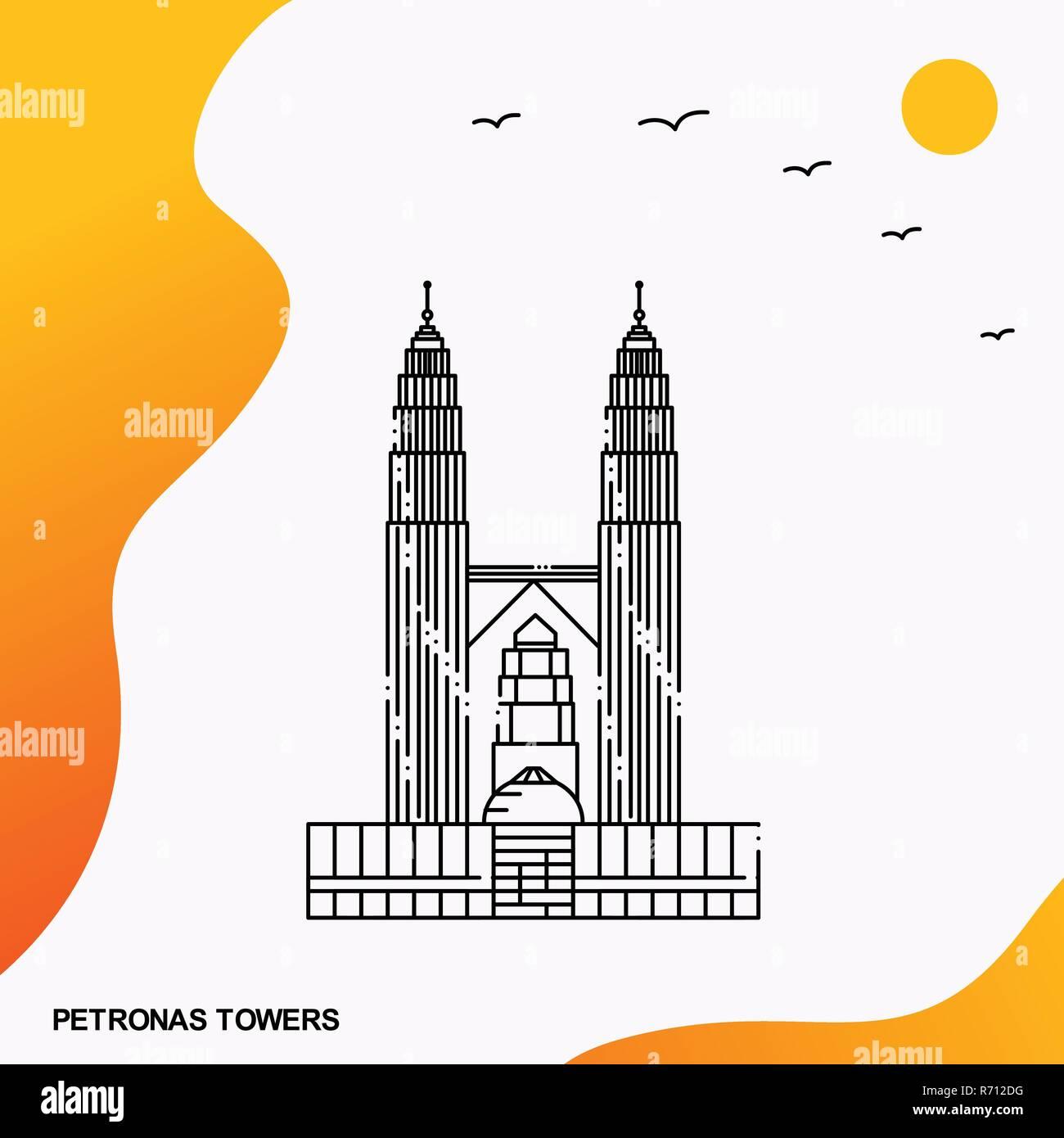 Travel PETRONAS TOWERS Poster Template - Stock Vector