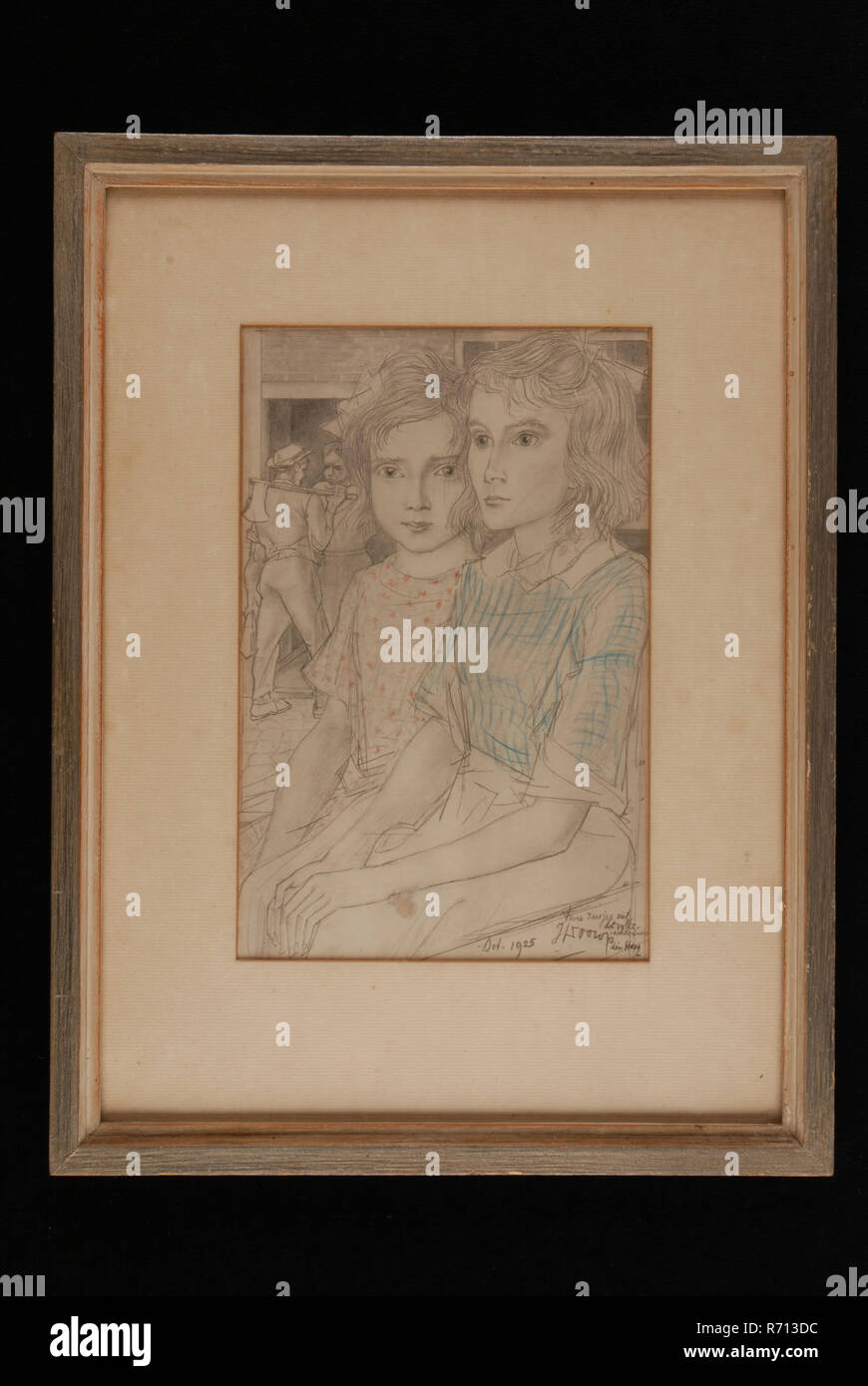 Jan Toorop, Offset printing of drawing Two sisters from the people's back neighborhood from 1925, in wooden frame, offset lithograph print images paper wood glass cardboard, size) printed lower right signature and date: Oct. 1925 - two sisters from the people's back neighborhood J. Toorop the Hague. - Stock Image