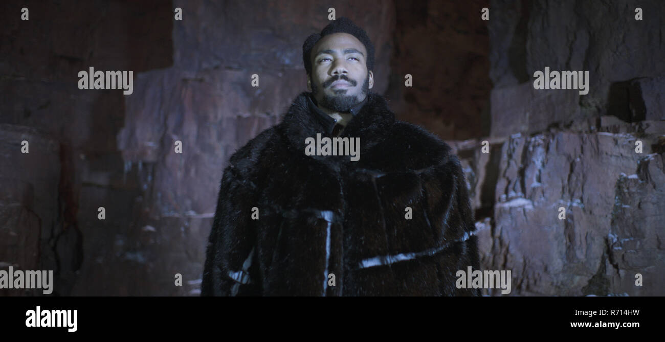 RELEASE DATE: May 25, 2018 TITLE: Solo: A Star Wars Story STUDIO: Lucasfilm DIRECTOR: Ron Howard PLOT: During an adventure into the criminal underworld, Han Solo meets his future co-pilot Chewbacca and encounters Lando Calrissian years before joining the Rebellion. STARRING: DONALD GLOVER as Lando Calrissian. (Credit Image: © Lucasfilm/Entertainment Pictures) - Stock Image