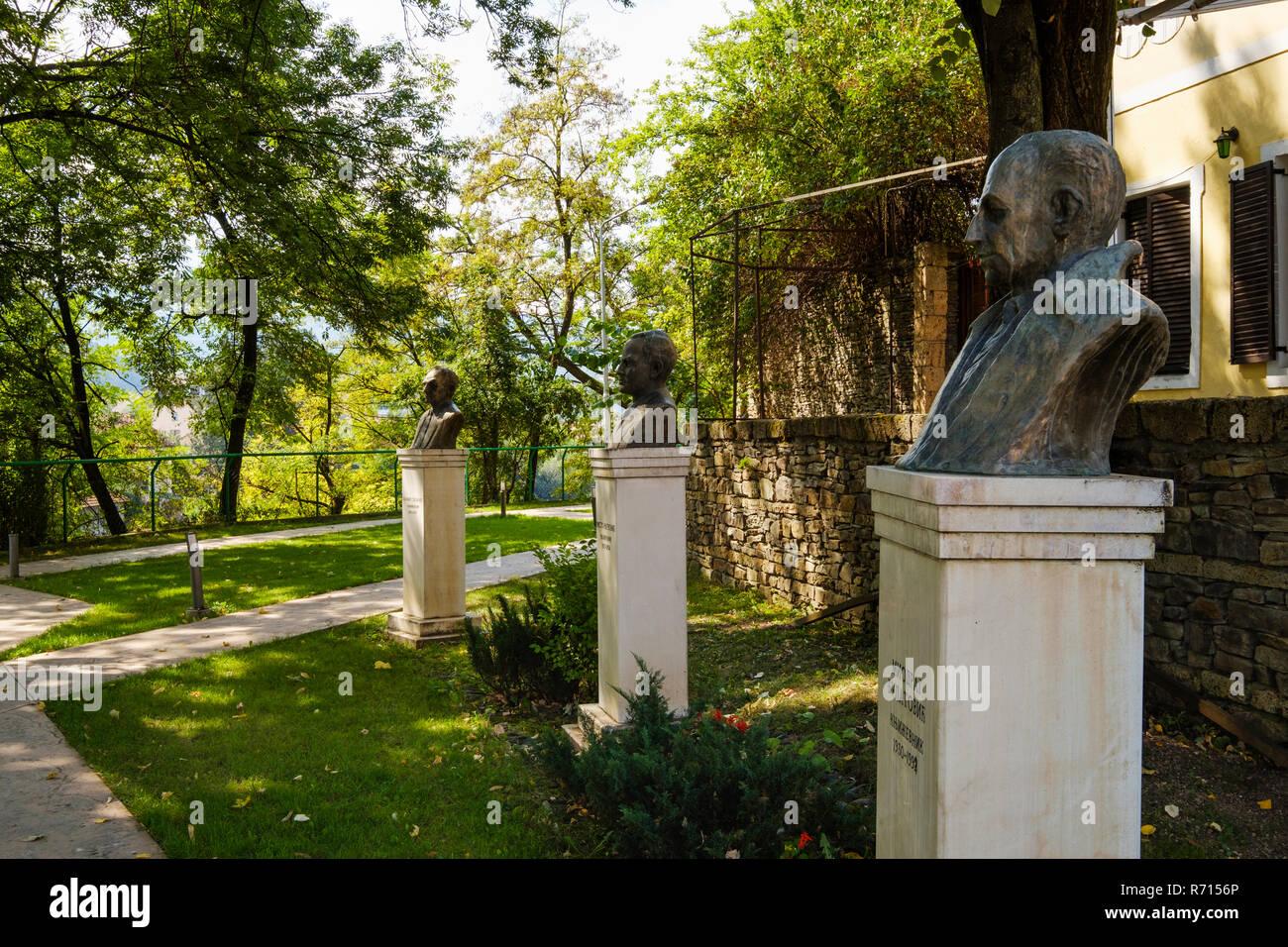 Busts, Park of poets, Bijelo Polje, Montenegro - Stock Image