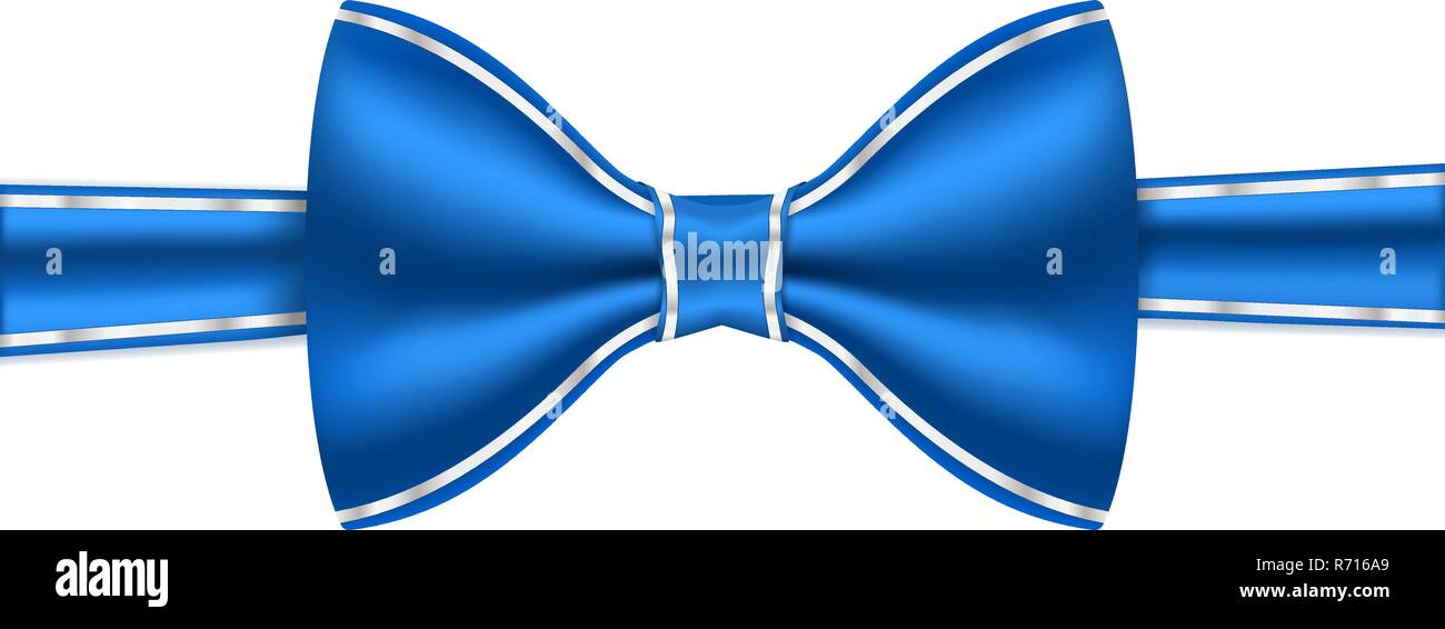 Blue bow tie with white frame stitching Stock Vector