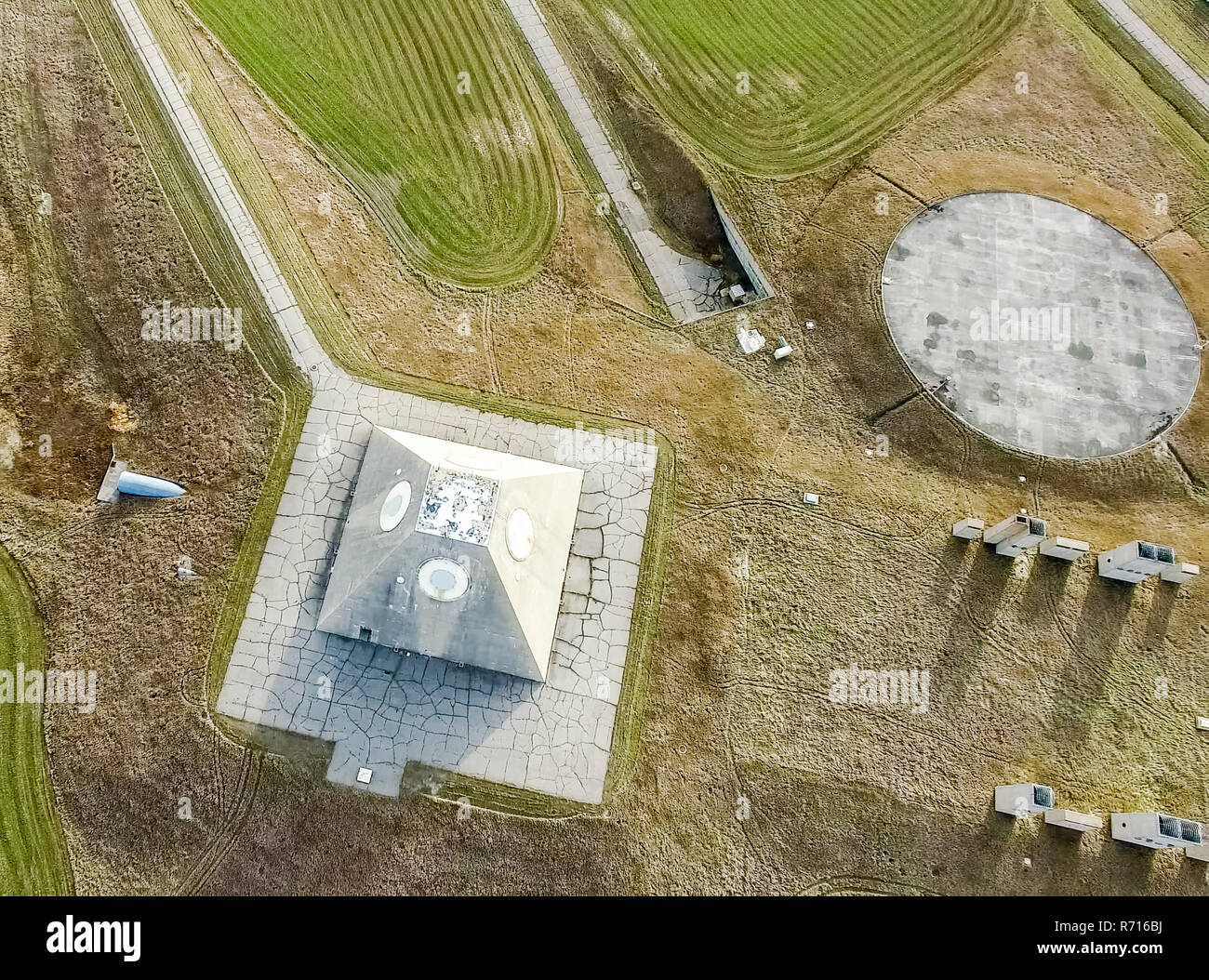 The building of the radio radar in the form of a pyramid on military base. Missile Site Radar Pyramid in Nekoma North Dakota. - Stock Image