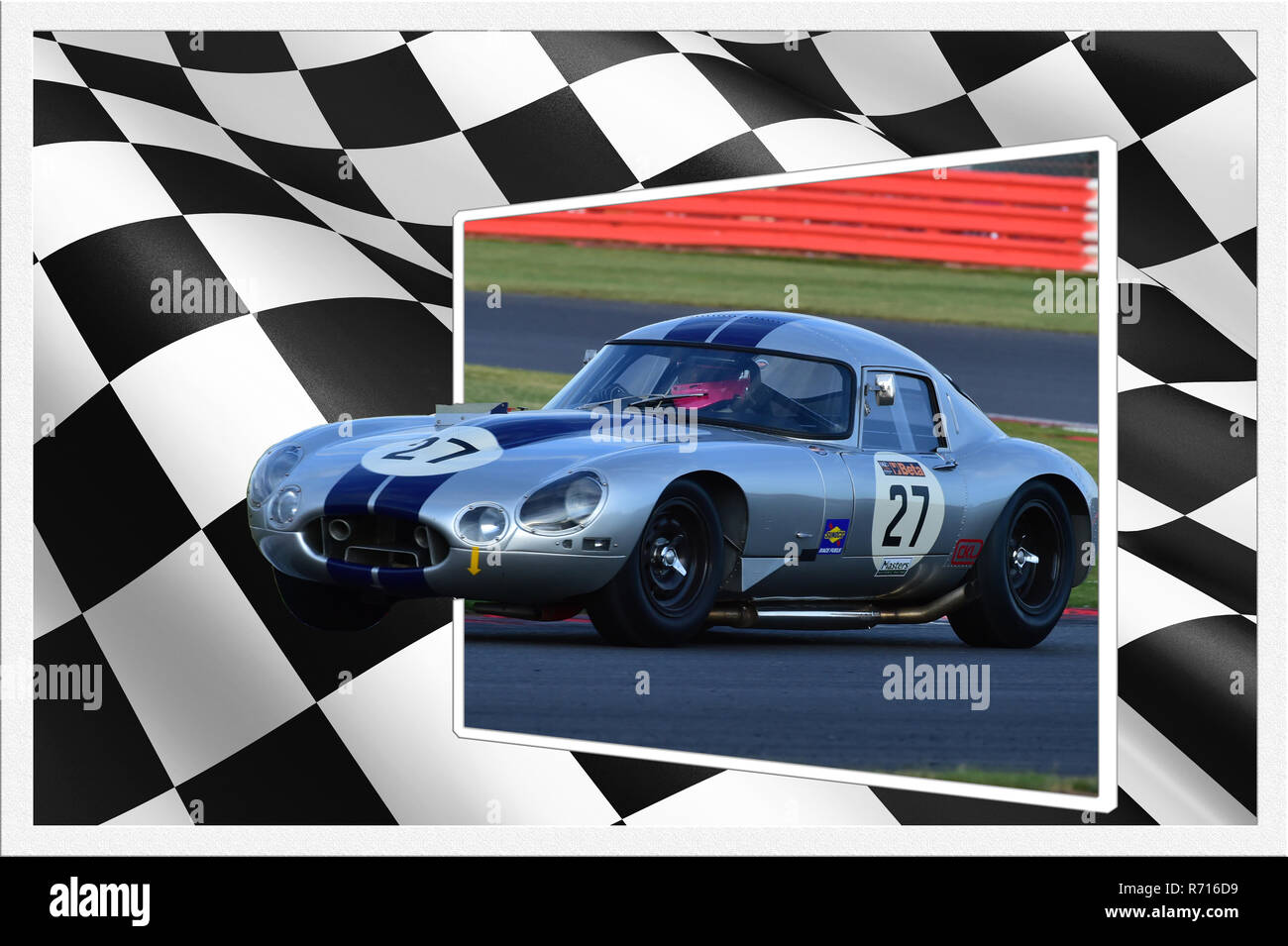 Gisella Ketvel, Jaguar E-Type, International Trophy for Classic GT Cars, Silverstone Classic 2015, cars, Chris McEvoy, circuit racing, cjm-photography - Stock Image