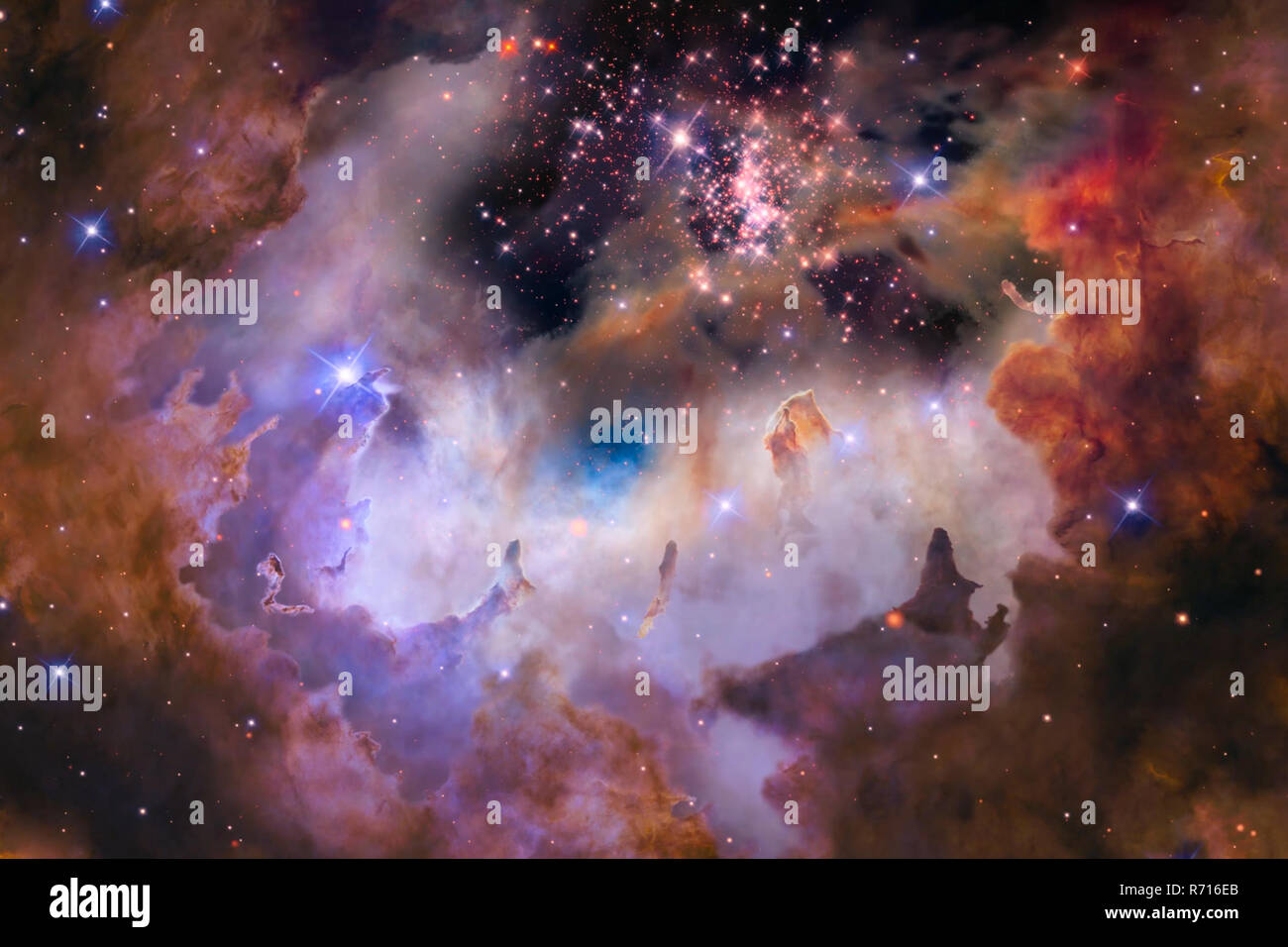 Fog in space, star dust, a space object computer animation. Stock Photo
