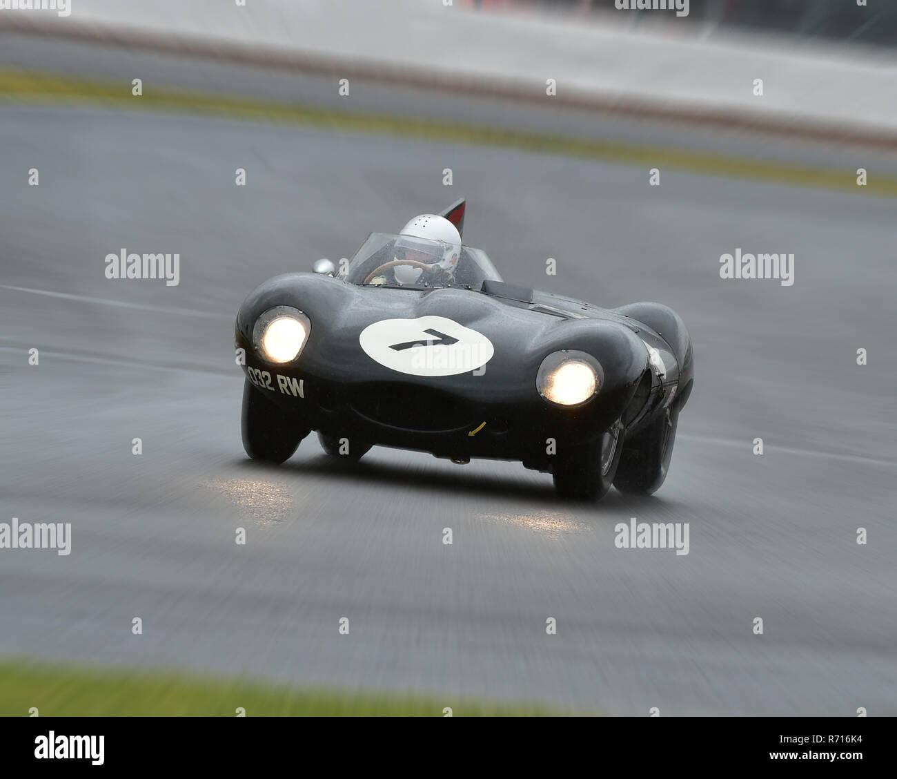 Gary Pearson, Jaguar D-Type, 032 RW, RAC Woodcote Trophy, Silverstone Classic 2015, Chris McEvoy, circuit racing, cjm-photography, classic cars, Class - Stock Image