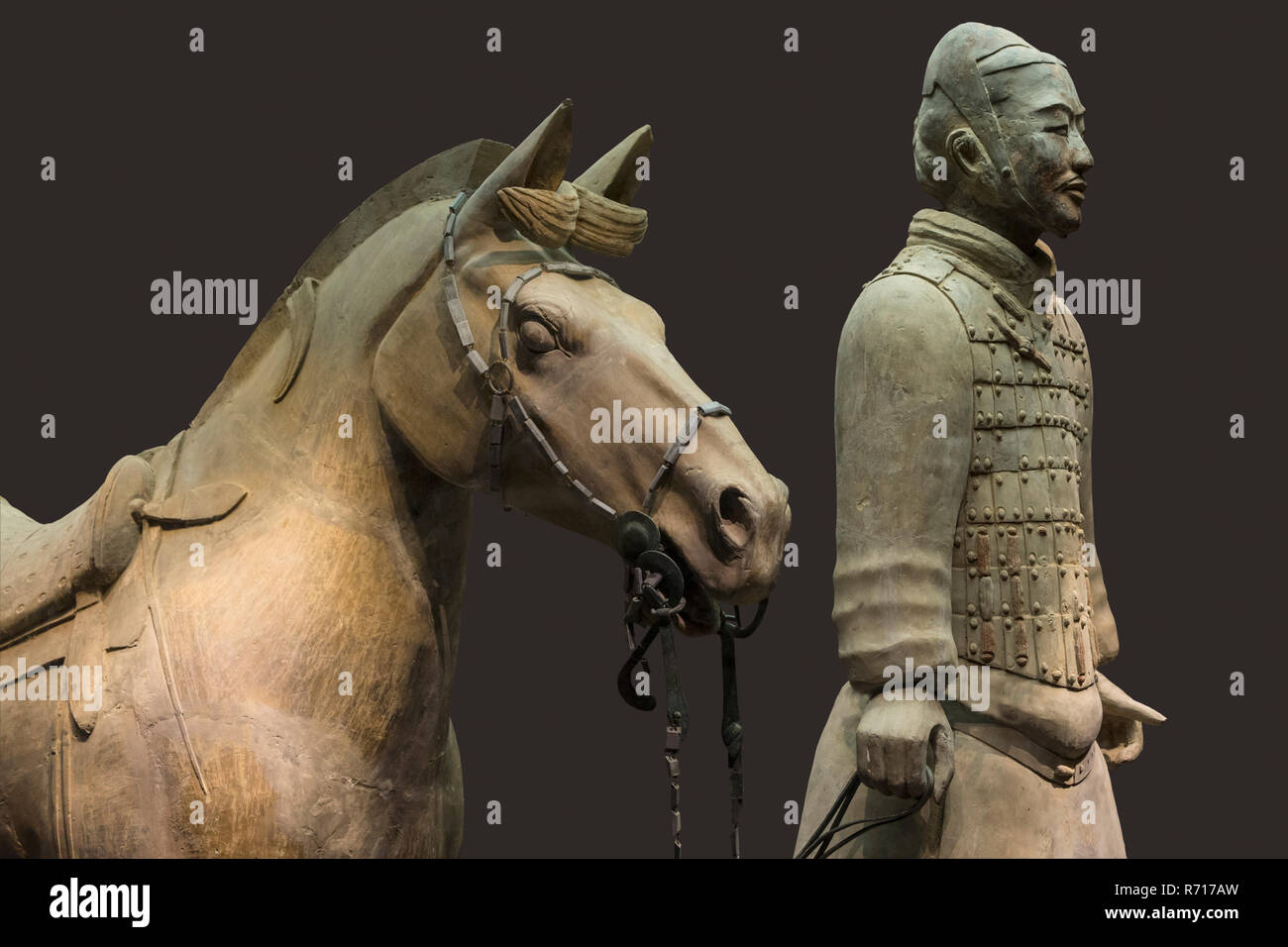 Museum of the Terracotta Warriors, Cavalryman with his Saddled War-Horse, Mausoleum of the first Qin Emperor, Xian - Stock Image