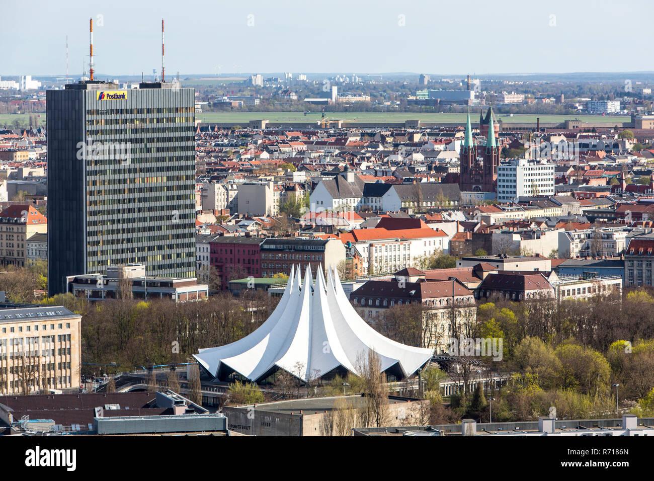 Cityscape, Berlin-Kreuzberg, Tempelhof Park and Tempodrom, Berlin, Germany - Stock Image