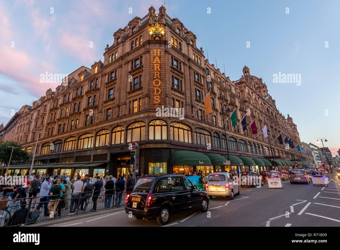 Harrods Department Store, blue hour, London, Great Britain Stock Photo