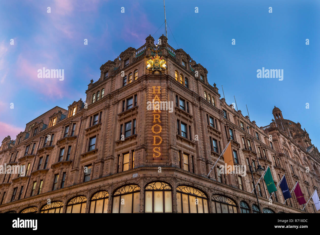 Harrods Department Store, blue hour, London, Great Britain - Stock Image
