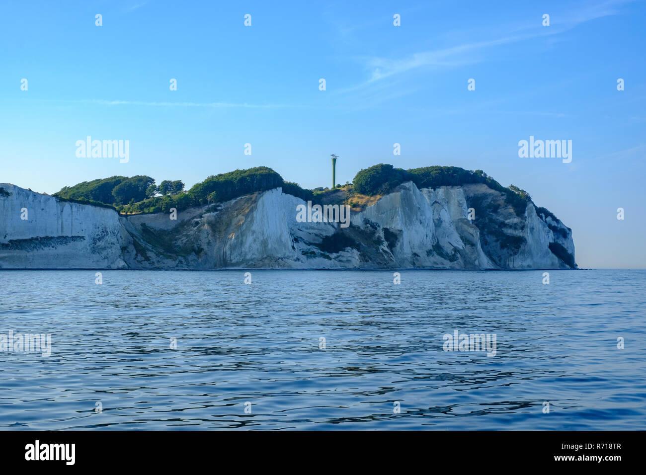 Møns Klint, the chalk cliffs of Moen Island, Denmark, Scandinavia, Europe, as seen from offcoast. Stock Photo