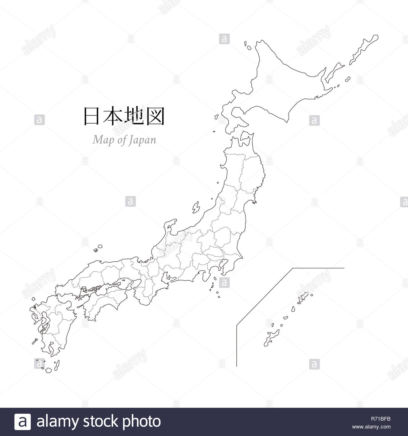 Map of Japan, a blank map, an outline map Stock Photo: 228068383 - Alamy