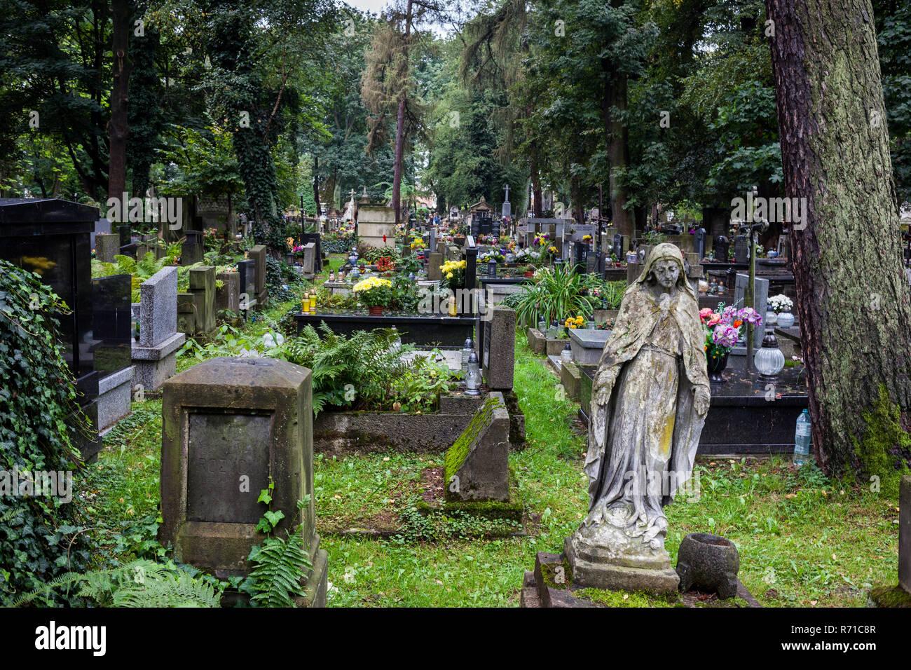 Rakowicki Cemetery (Polish: Cmentarz Rakowicki) in Krakow, Poland, 19th century necropolis - Stock Image