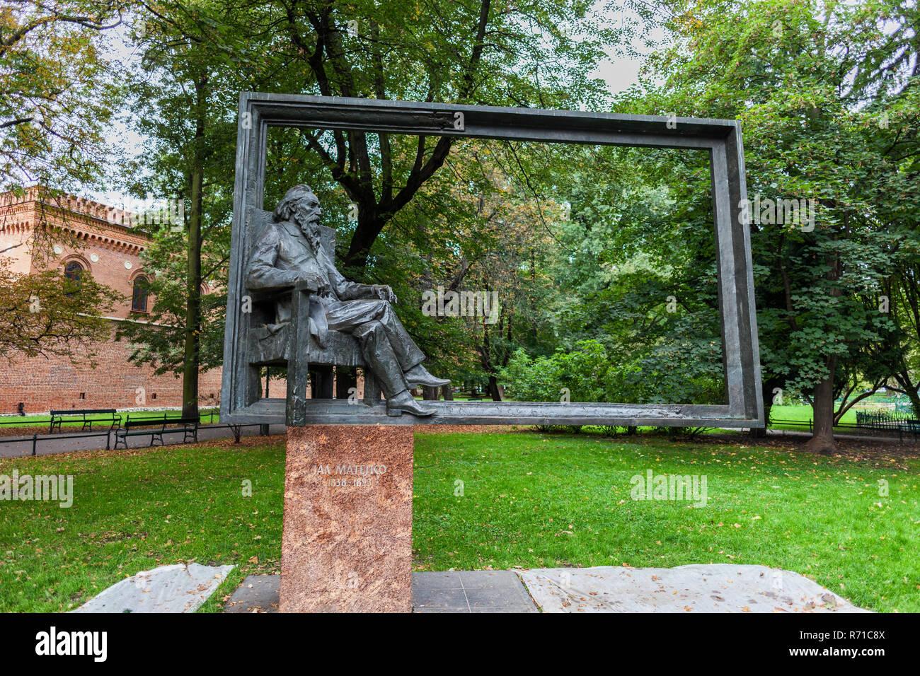 Jan Matejko Monument in Krakow, Poland, 19th century Polish painter (1838-1893). - Stock Image
