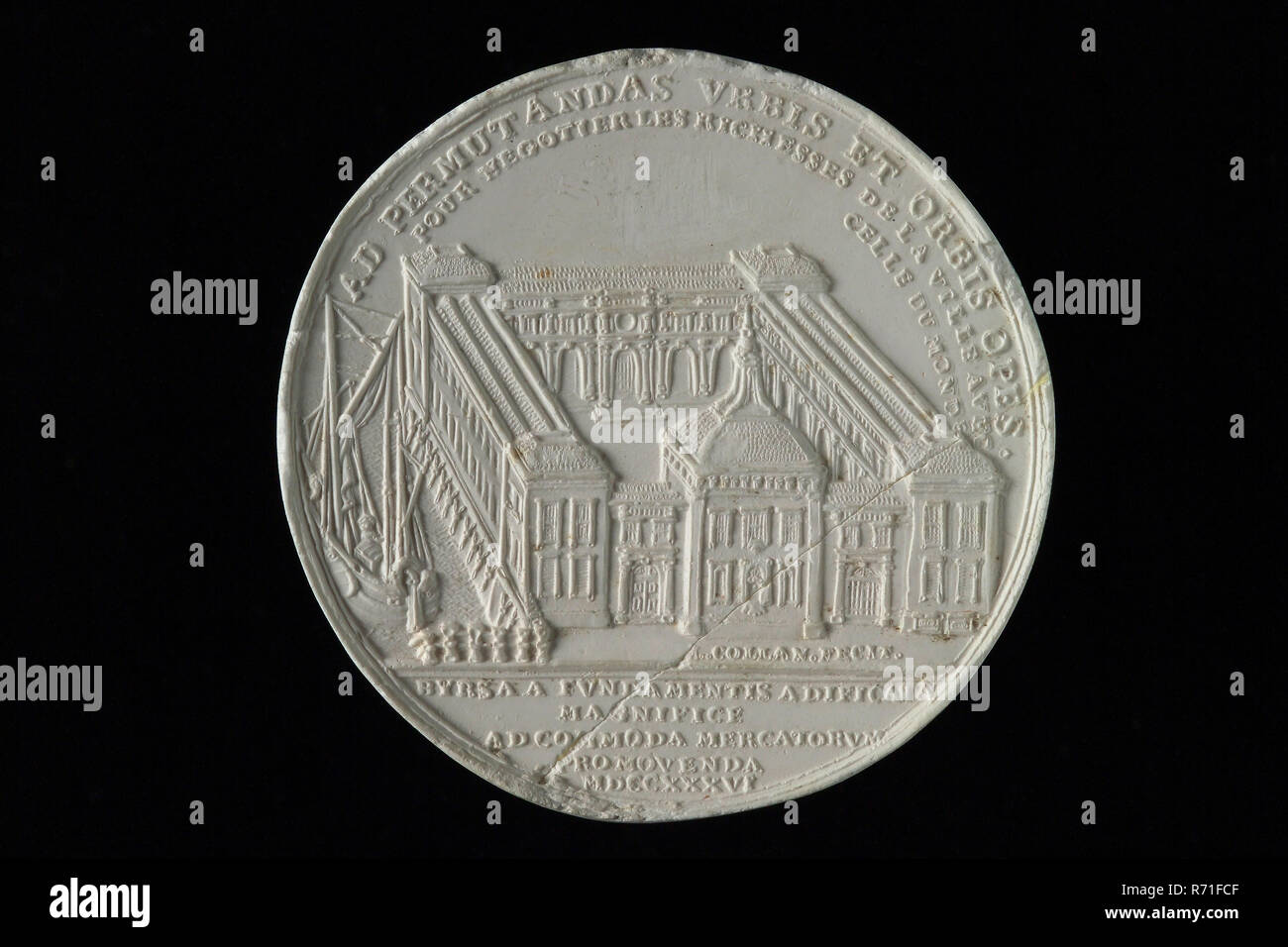 production: M. Holtzhey, One-sided gypsum print of reverse side of commemorative medal on the completion of the Rotterdam Stock Exchange, commemorative medal penning visual material gips, The exhibition center in nutshell Regard: ad permvtandas vrbis et orbis opes. (To trade the richnesses of the city and that of the world against each other) (in cut) bvrsa fvndamentis aedificata magnifice ad commoda mercatorvm PhD student mdccxxxvi. (The fair in the year 1736 built from the ground up to the ease of merchants) heraldry Rotterdam trade trade trade fishery city profile allegory Adriaan van der W - Stock Image