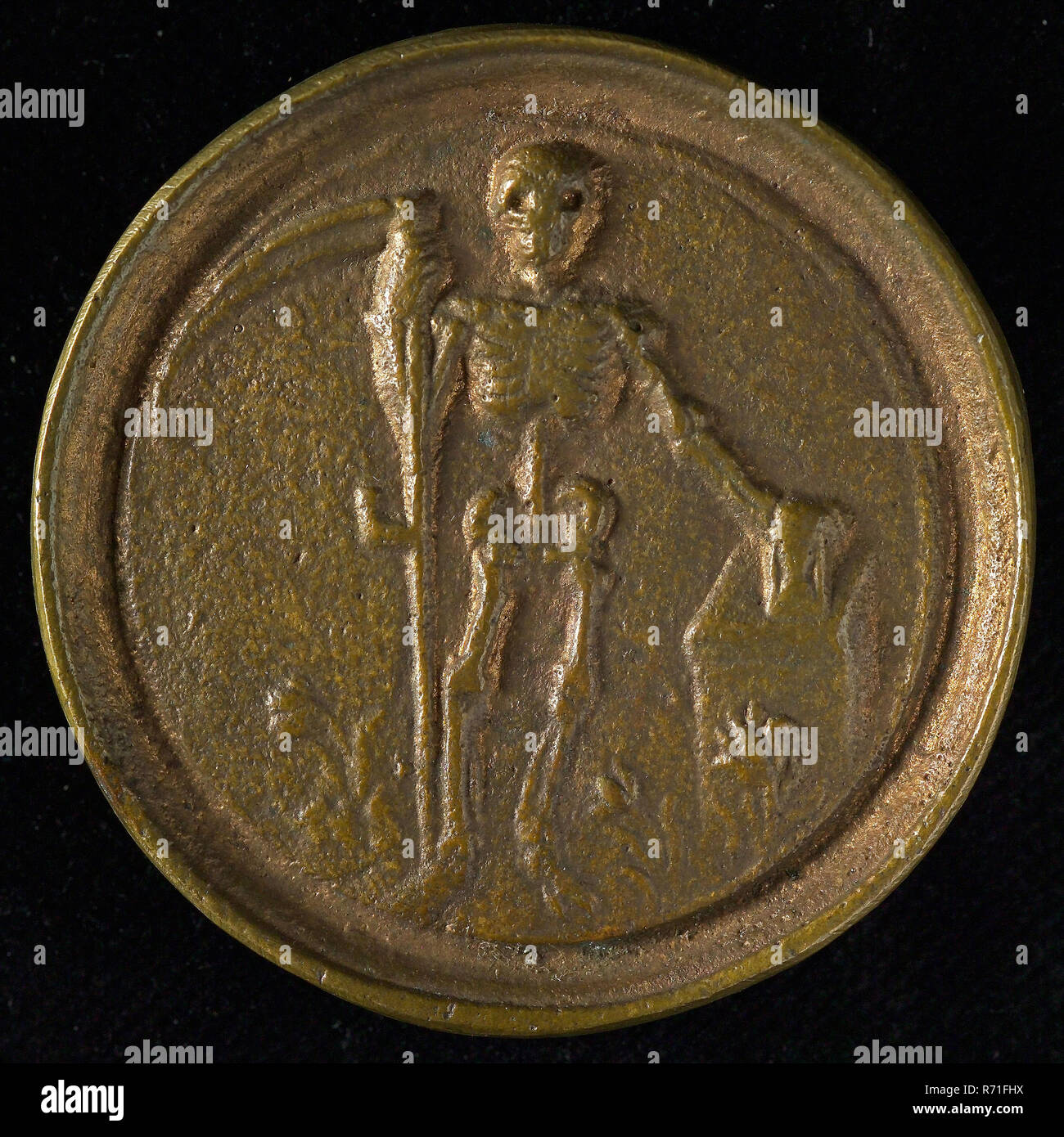 Entrance fee from the Hortus Medicus in Amsterdam, penning footage copper, standing skeleton scythe in the right hand the left rests on hourglass standing on pedestal; on the ground flowers, no W. van Rede death Collection W van Rede Rotterdam. - Stock Image