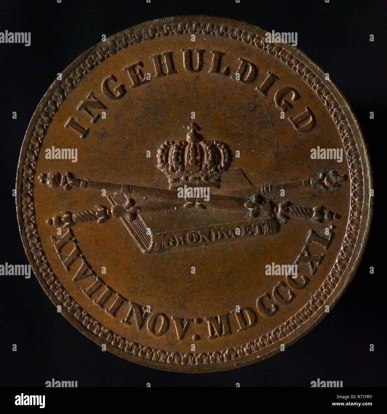 Medal at the inauguration of King Willem II in Amsterdam, medallions bronze bronze, text only, WILLEM II KING OF THE NETHERLANDS (in the field) royal house Oranjehuis Oranje Stock Photo