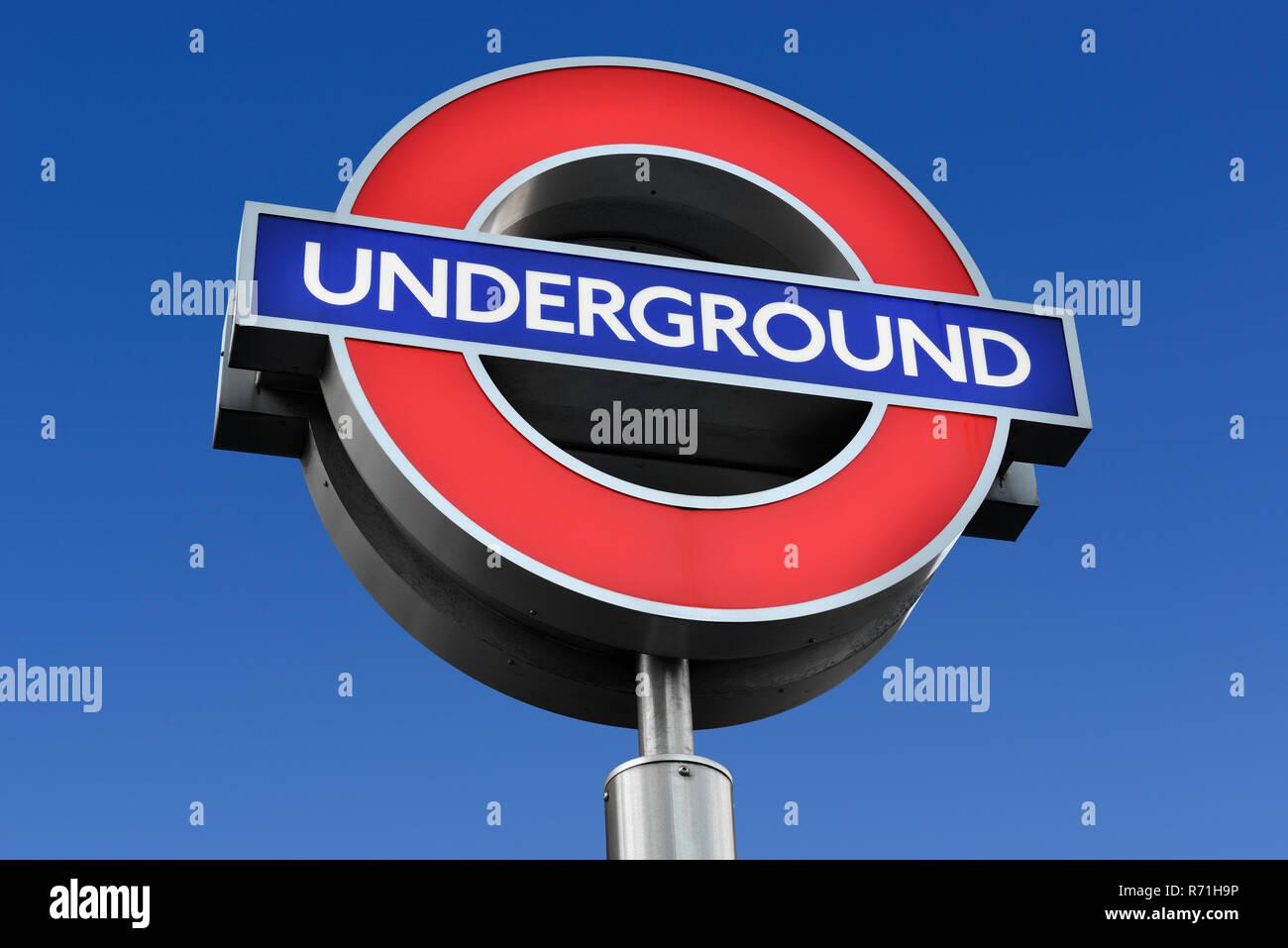 London Underground Sign - Stock Image