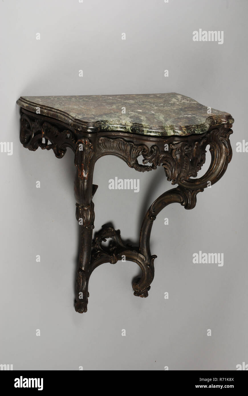 Rococo Console Or Penant Table Console Table Penant Table Table Furniture Interior Design Wood Lime Wood Oak Marble Stone Paint Iron Olive Green Painted With Green Marble Top Rococo Stock Photo