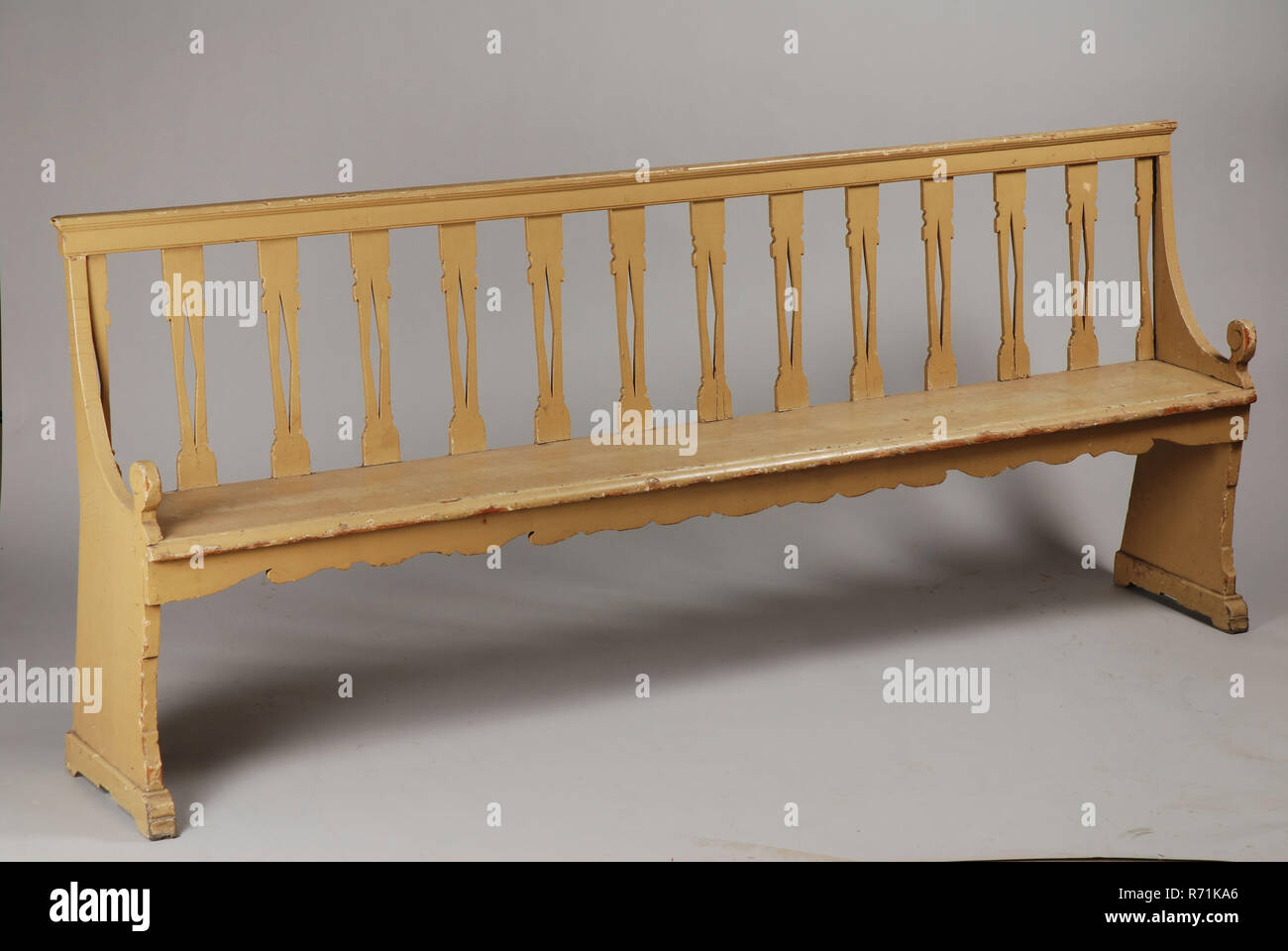 Picture of: Green Painted Long Garden Bench Or Bench Sofa Furniture Interior Design Wood Coniferous Paint Openwork Backrest With Bars Under The Seat Scalloped Line Stock Photo Alamy