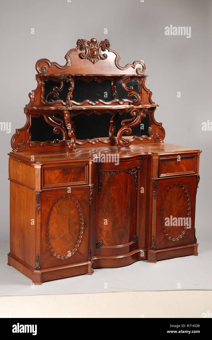 Picture of: Neo Rococo Dining Room Buffet Sideboard Cupboard Cabinet Furniture Furniture Interior Design Wood Mahogany Oak Wood Brass Glass Neo Rococo Dining Room Buffet With Upright With Two Shelves Supported By Volutes Back Wall With
