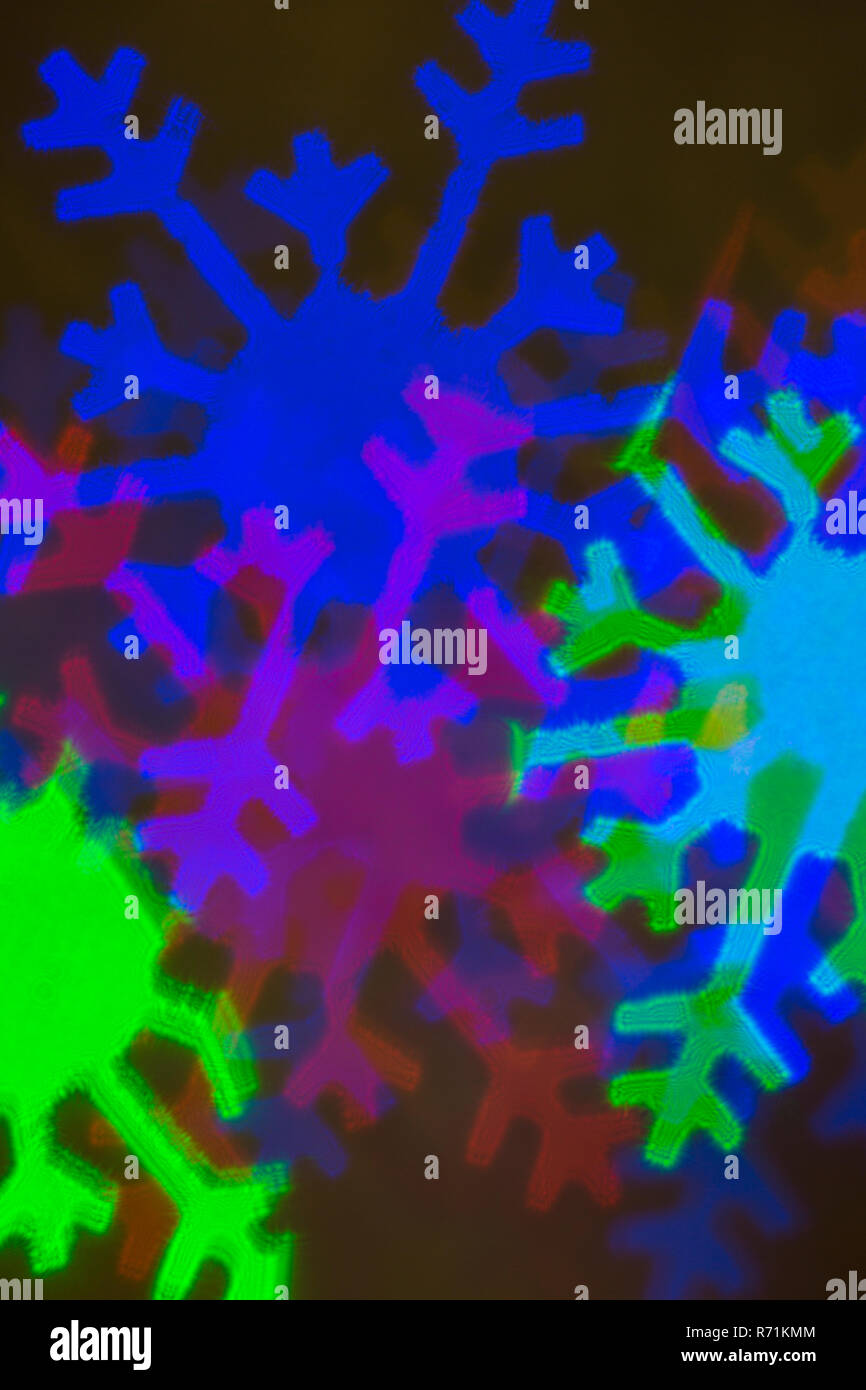 abstract of Christmas snowflake lights closeup - Stock Image