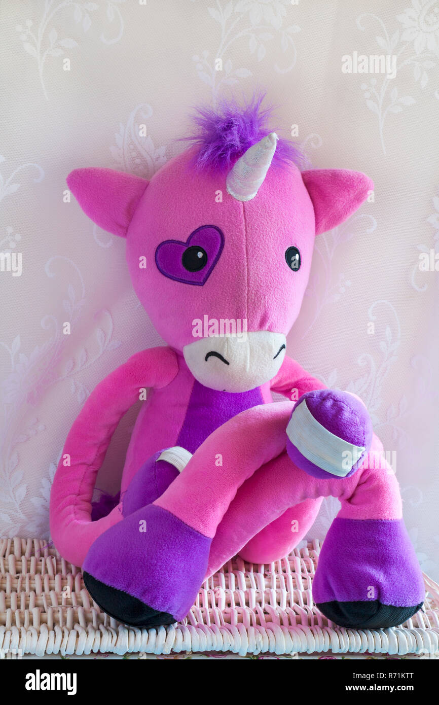 Stretchkins Unicorn Soft Toy Sitting Cross Legged On Wicker Basket