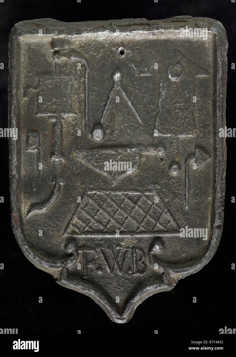 FWB, Roof lead, shield-shaped cover plate with initials FWB
