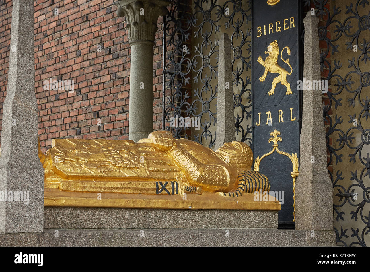 Tomb of Birger Magnusson, who founded Stockholm in the 13th century at Stadshuset - Stock Image