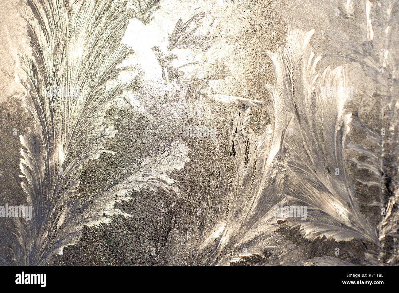 Frosty pattern on glass. Background of frost on the glass. Frostwork. Texture of ice. Stock Photo