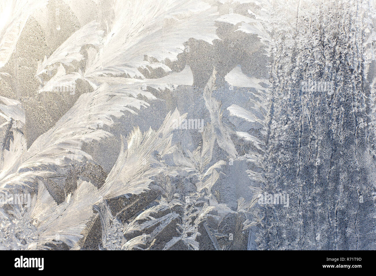 Frosty pattern on glass. Background of frost on the glass. Frostwork. Texture of ice. - Stock Image