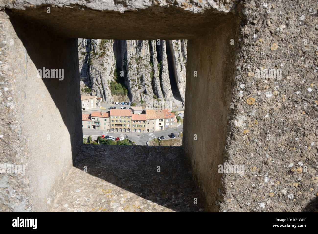 View over La Baume Rock Strata Formation from the Devil's Sentry-Box or Turret of the Citadel, Fort, Castle or Fortress Sisteron Provence France Stock Photo