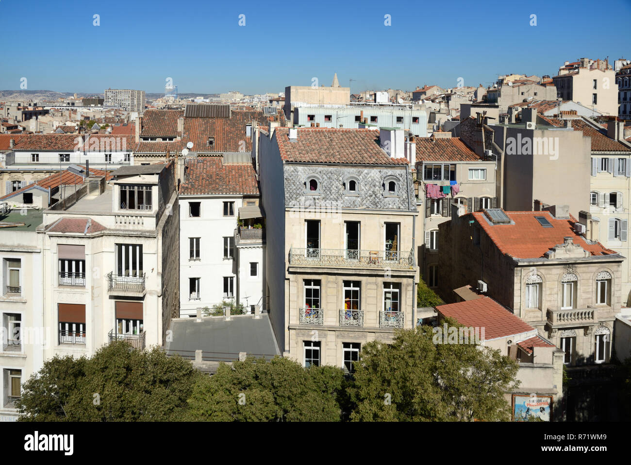 Townscape or Cityscape, Skyline View over the Rooftops of the Historic District of Noailles Marseille Provence France - Stock Image