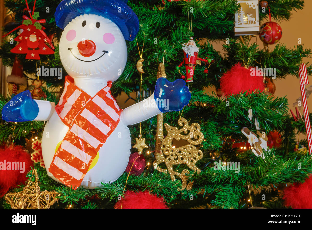 Large Inflatable Snowman On A Christmas Tree Air Blown Seasonal